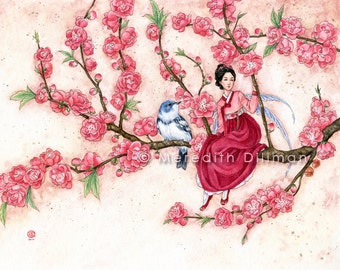 Spring Fairy, art print, Korean, Pink blossoms, fairy tale illustration, watercolor print, pink flowers