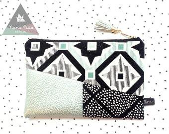 Zipper Pouch / Purse / Make Up Bag / Pencil Case : Ikat Pattern, Faux Leather metallic, Tassel