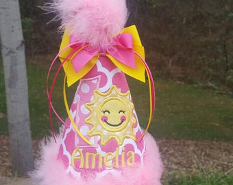 sunshine party hat, you are my sunshine birthday,  birthday hat,  smash hat,  1st birthday hat,  party hat, 2nd birthday, sunshine birthday