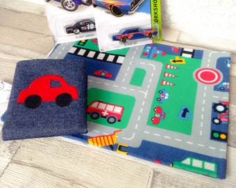 Gift Bundle, Car mat toy car included, road play mat with car, fold away playmat, toy car play mat, travel kids play mat, fold up playmat,