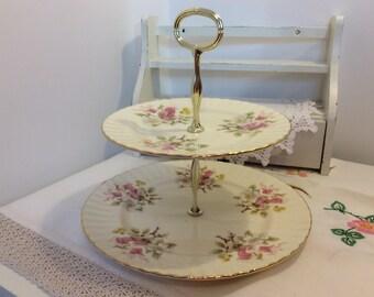 Royal Vale china, English china, vintage cake stand, foxgloves, 2 tier cake stand, tiered cake stand, English cake stand, english cake plate