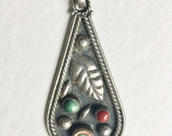vintage southwest teardrop pendant: turquoise, coral, abalone