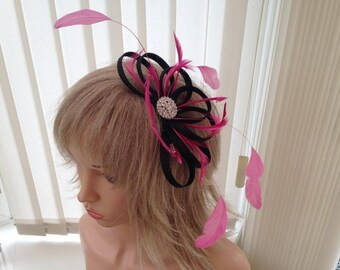 Black & hotpink   sinamay fascinator, hair accessories, can be custom made to match your outfit