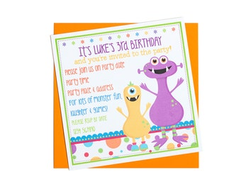Personalised Monster Party Invitation