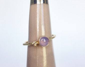 Blue holley agate and champagne diamond ring in 14k yellow gold, oregon engagement ring
