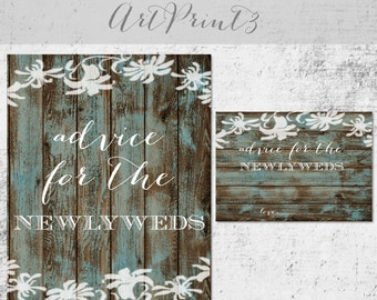 Advice for the Newlyweds Bridal Shower Game, Printable Wood and Flowers Bridal Shower Advice Cards and Sign, Rustic Bridal Shower Printable