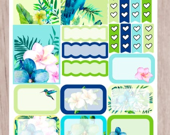 TROPICAL DELIGHT Mini Planner Sticker Set | perfect for vertical Erin Condren Life Planner, Personal Planners | S23