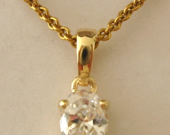 Genuine SOLID 9K 9ct YELLOW GOLD April Birthstone Cz Cubic Zirconia Pendant