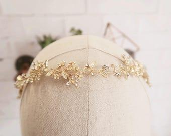 Bridal Hair Vine | Hair Vine for Bride | Leaf Hair Vine | Boho Gold Headband | Leaf Tiara for Bride | Bride's Gold Tiara Gold Hair Vine #185