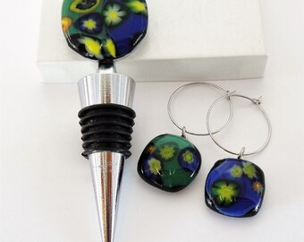 Fused Glass Wine Stopper and Glass Charms Deep Blue and Green with Intense Yellow Millefiori Flowers Wine Stopper with Two Wine Glass Charms