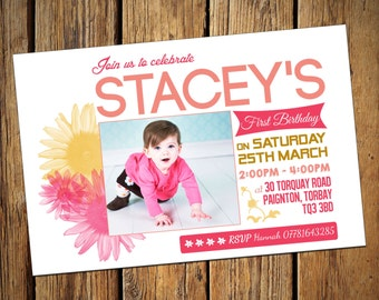 Girls 1st Birthday Party Invitations Floral
