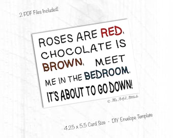 PRINTABLE Card, Naughty Valentines Card, Dirty Girlfriend, Roses Are Red, Funny Adult Love, Boyfriend Birthday Sex