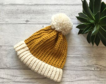 Mustard and cream knitted hat, chunky knit accessories, knit accessories, chunky knit hat, inspirational gifts, chunky hat, mustard hat UK