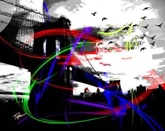 "Limited Edition Print.  "" Brookland Bridge "" Digital painting, Wall art, Painting. Art print"