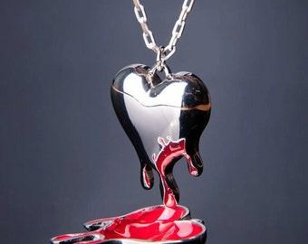 Melting Heart pendant, Heart Pendant, Red Heart Pendant, Melting Heart Necklace, Heart Necklace, Red Heart Necklace, hand painted enamel