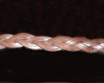 Leather belt custom made hand crafted double braid.