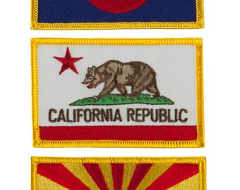 Western State Iron On Embroidery Patch - AZ, CA, CO (2 Piece Pack)