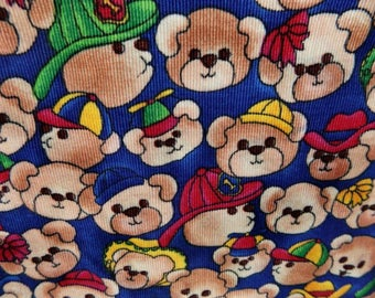 Corduroy Kids Fabric, Cute Teddy Bears Fabric - blue corduroy fabric -teddy bear material -  2 1/2 yard  # F 28
