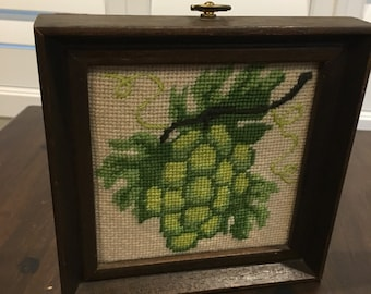 Vintage needlepoint green grapes in wood frame