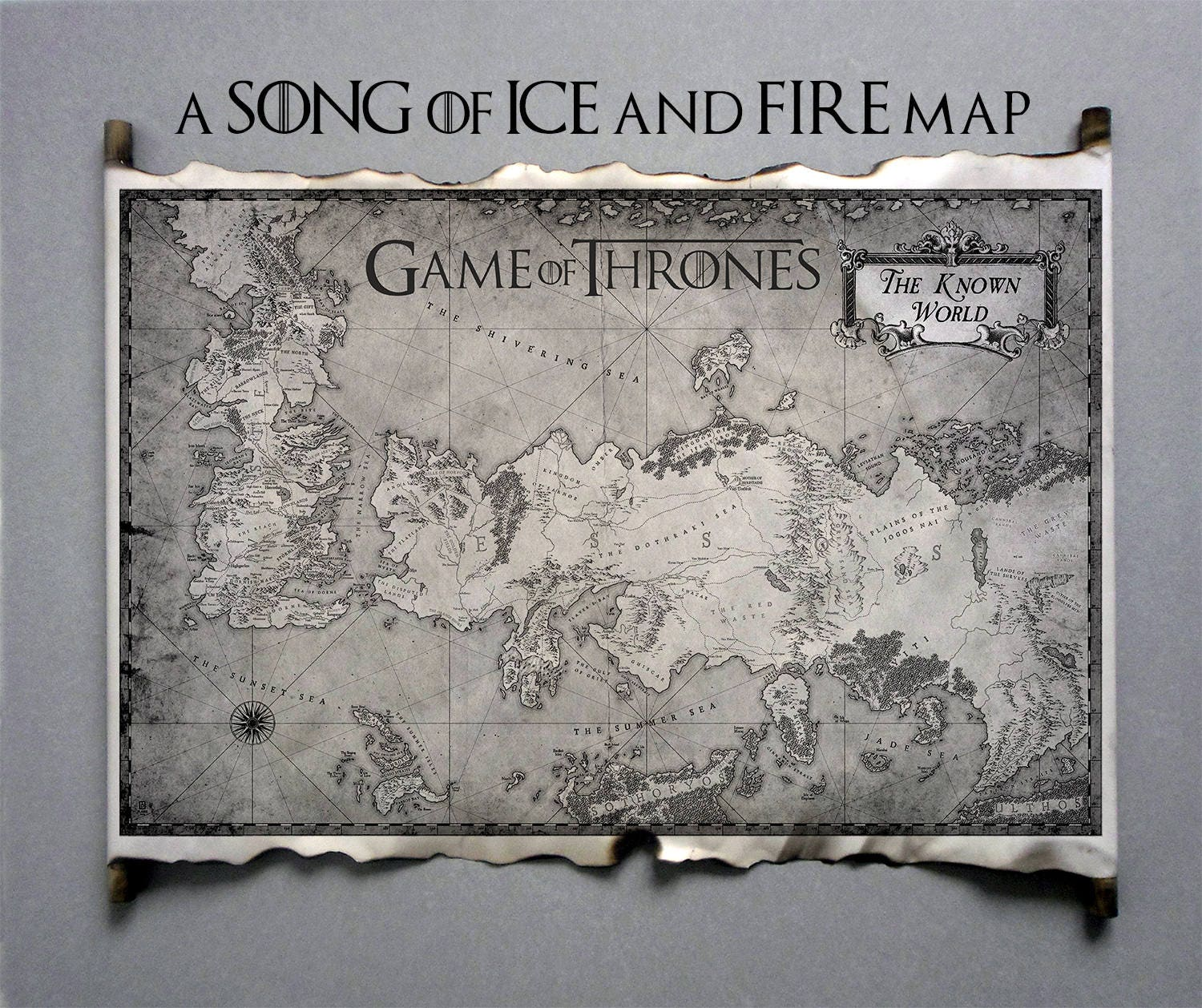 Essos map and westeros map scroll poster game of thrones map essos map and westeros map game of thrones the known world map scroll a song of gumiabroncs Image collections