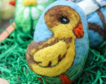 Easter Egg Felted Blue Duckling and Ladybug Needle Felting Pure Wool, Easter Gift