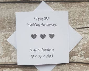 Personalised 25th Wedding Anniversary card | Silver Wedding Anniversary card |Card for 25th wedding anniversary |Card for silver anniversary