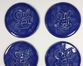 Coasters with Spinning Wheel Motif