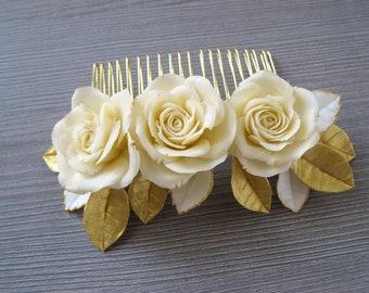 Ivory wedding hair comb Wedding Rose gold hair comb Rose hair comb Bridal hair comb Rose gold hair accessories Gold hair piece Bridal comb