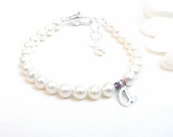 Personalized Bracelet for Newborn Infant Baby or Little Girl, Baby Girl Bracelet, Freshwater Pearl Birthstone Initial Bracelet, Girl Jewelry