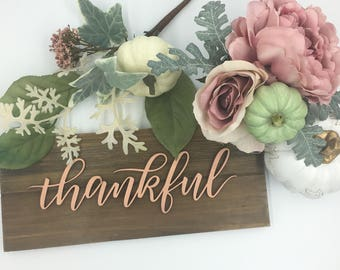"""Laser cut holiday sign on a plaque """"thankful"""""""