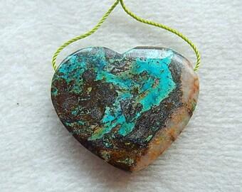 New Natural Handmade Heart Shape Chrysocolla Gemstone  Pendant Bead 35x30x8mm,13.0g,-P443