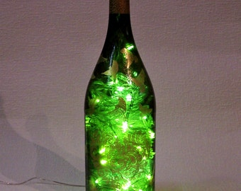 Lighted Bottle. Recycled Hand Decorated 1.5 Liters Wine Bottle with 200 LED White Lights Inside. Bottle Lamp. Party Decor Lights.