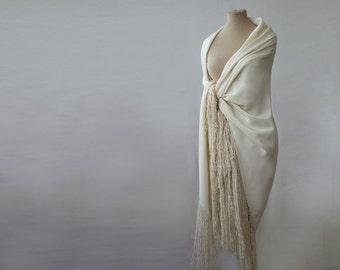 large silk fringed shawl, cream silk shawl, piano shawl, silk challis, bohemian, oversized silk shawl, cream, off white, silk wrap tassels