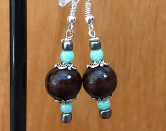 Brown and Green Beaded Drop Earrings, Brown Green Beaded Earrings, Brown Green Drop Earrings, Brown Green Earrings, Mint Green Brown earring