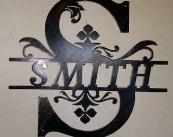 Split Monogram, Family Initial And Name, Metal Wall Sign, Wall Decor   Any