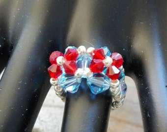 Ring set in white and blue crystal blue snow pearls to make yourself
