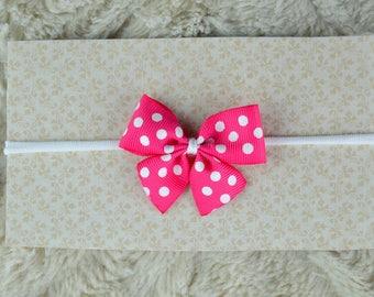 Newborn Headband with bow, tiny bow headbands, Headbands for newborn, pink headband, Pink bow, baby bows