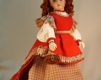 """French Fashion doll costume pattern for circa 1860's Carriage Dress for 12"""" dolls"""