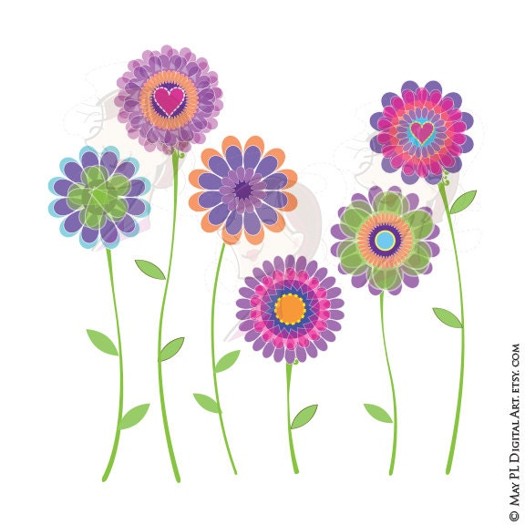 Spring flowers clipart digital clip art purple floral graphics zoom mightylinksfo Choice Image