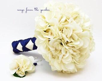 Wedding Bouquet Cream Silk Hydrangea Groom's Boutonniere Navy Ivory Silk Flower Bridal Bouquet - Ivory Silk Flower Hydrangea