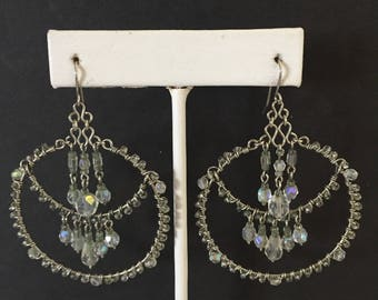 Hoop Earrings with Crystals, Hoop Earrings, Bridal Jewelry