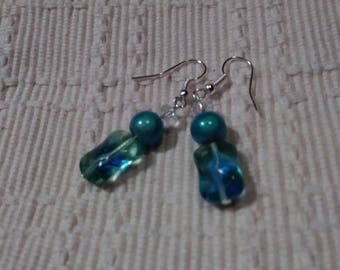 Faceted Crystals On Glowing Glass Aquamarine & Hourglass Bead Earrings
