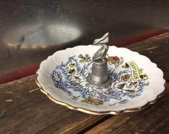 Vintage Scotland dish and Pelican ring dish   Assemblage jewelry storage   Repurpose ring tray