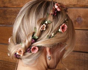 Flower hair wreath Bridal Headpiece Double headband bridesmaid headpiece Bridal flower crown Bridal floral crown Wedding flower headpiece