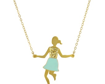 Jump Rope Girl Necklace // Long Mint, Glitter and Gold Enameled Reversible Necklace with Little Girl Jumping Rope // Choose Your Color Skirt
