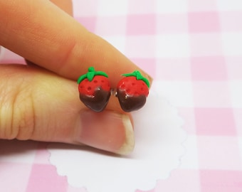 Chocolate covered Strawberry earrings ear studs - food jewelry, valentine earrings, valentine gift, valentine jewelry, fruit jewelry