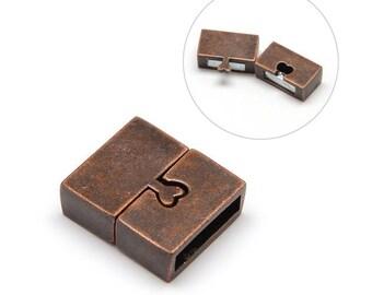 1 x magnetic locker 18x16mm Cuff Bracelet copper ANTIQUE