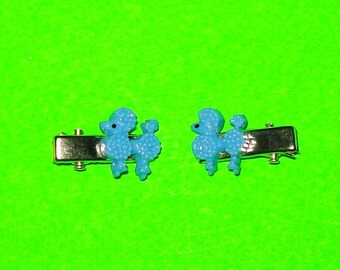 Poodle Sweater Girl Rockabella Pinup Jewelry Blue Pink Purple White Mini Hair Clips