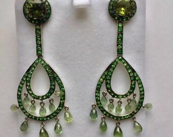 Tsavorite Garnet Chandelier Earrings