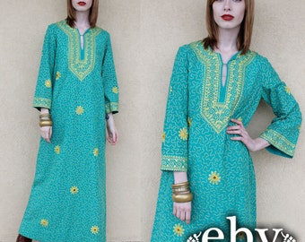 Vintage Hippie Dress Hippy Dress Festival Dress Vintage 70s Hippie Caftan Maxi Dress S M Vintage Dashiki